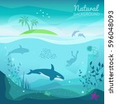 tropical sea natural background.... | Shutterstock .eps vector #596048093