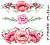 watercolor bouquets with light... | Shutterstock . vector #596053127