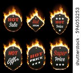 set of six hot sale frames of... | Shutterstock .eps vector #596053253