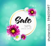 spring sale banner with pink... | Shutterstock . vector #596055497
