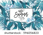 vector summer blue natural... | Shutterstock .eps vector #596056823