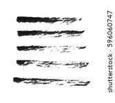 set of hand drawn grunge brush... | Shutterstock .eps vector #596060747