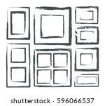 frames set grunge style. vector ... | Shutterstock .eps vector #596066537