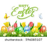 easter eggs in grass on white... | Shutterstock . vector #596085107