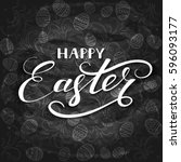 white lettering happy easter... | Shutterstock . vector #596093177
