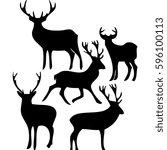deers black and white vector set | Shutterstock .eps vector #596100113