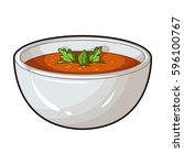 porcelain tureen with the soup... | Shutterstock .eps vector #596100767