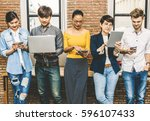 group of asian and multiethnic... | Shutterstock . vector #596107433