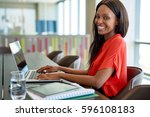 portrait of a smiling young... | Shutterstock . vector #596108183