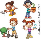 kids helping the environment.... | Shutterstock .eps vector #596113277