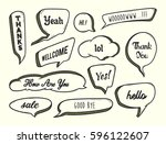 set of hand drawn speech bubble ... | Shutterstock .eps vector #596122607