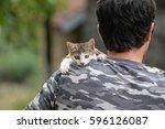 cute little kitten. beautiful... | Shutterstock . vector #596126087