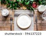 ceramic tableware top view on... | Shutterstock . vector #596137223