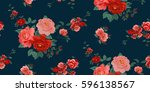 seamless floral pattern in... | Shutterstock .eps vector #596138567