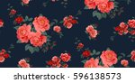seamless floral pattern in... | Shutterstock .eps vector #596138573