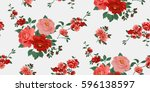 seamless floral pattern in... | Shutterstock .eps vector #596138597