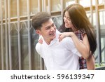 asian lover join together with... | Shutterstock . vector #596139347