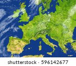 europe. 3d illustration with... | Shutterstock . vector #596142677