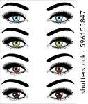 set of realistic female eyes...