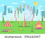 city park with attractions on... | Shutterstock .eps vector #596162447