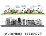 cartoon hand drawing of small... | Shutterstock .eps vector #596164727