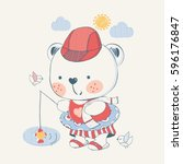 teddy bear.fisherman.can be... | Shutterstock .eps vector #596176847