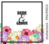 romantic invitation. wedding ... | Shutterstock .eps vector #596194013