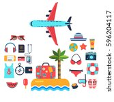 set of vector flat icons for... | Shutterstock .eps vector #596204117
