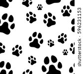 paw print seamless. traces of... | Shutterstock .eps vector #596231153