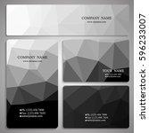 set of monochrome polygon... | Shutterstock .eps vector #596233007