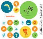 summer and beach simple flat... | Shutterstock .eps vector #596248547