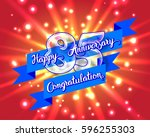 happy 85 th anniversary. glass... | Shutterstock .eps vector #596255303
