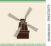 windmill vector icon. mill... | Shutterstock .eps vector #596273573
