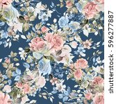 Stock photo seamless watercolor pattern with rose buds and leaves v 596277887