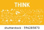 business typography think with... | Shutterstock .eps vector #596285873