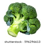 broccoli isolated on white... | Shutterstock . vector #596296613