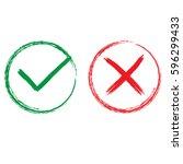 tick and cross signs. green... | Shutterstock .eps vector #596299433