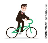 businessman on bicycle. eco... | Shutterstock .eps vector #596302013