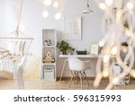 cozy stylish girl's apartment...   Shutterstock . vector #596315993