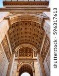 arc de triomphe in paris arch... | Shutterstock . vector #596317613