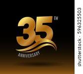35 years golden anniversary...   Shutterstock .eps vector #596325503