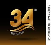 34 years golden anniversary...   Shutterstock .eps vector #596325557