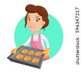 woman cooking. vector... | Shutterstock .eps vector #596347217
