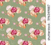 seamless floral pattern with... | Shutterstock .eps vector #596349887