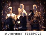fashion store showcase with... | Shutterstock . vector #596354723