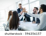 successful entrepreneurs and... | Shutterstock . vector #596356157
