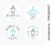 set of bubble tea badges.... | Shutterstock .eps vector #596360447