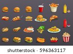 fastfood without contour. icons ... | Shutterstock .eps vector #596363117