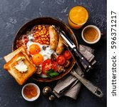 english breakfast in cooking... | Shutterstock . vector #596371217