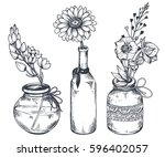 set of floral compositions.... | Shutterstock .eps vector #596402057